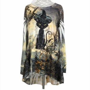 One World Halloween Black Cat Sublimation Top